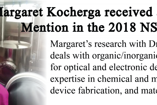 Margaret Kocherga Received Honorable Mention in the 2018 NSF